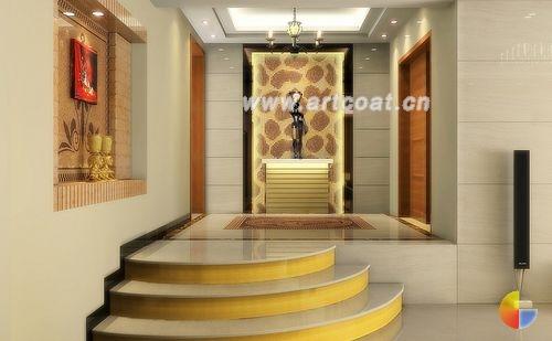 木地板和木色墙面配以青绿的床品套件和窗帘