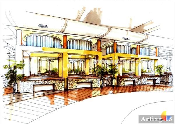 四海一家大型餐厅手绘方案欣赏
