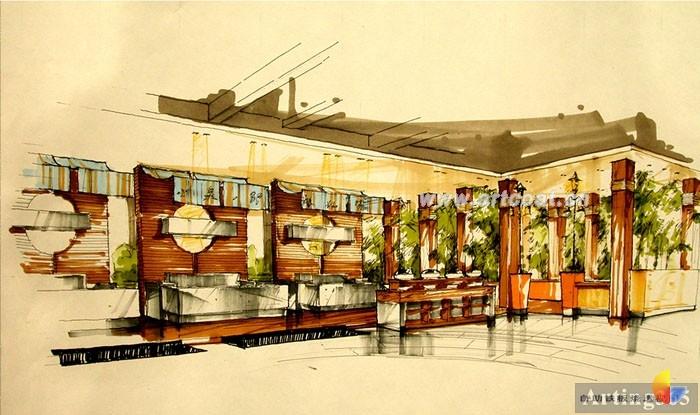 餐厅3d效果图手绘图 室内手绘效果图
