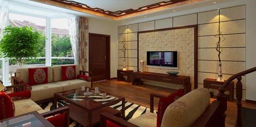 中式客厅影视墙硅藻泥装修效果图