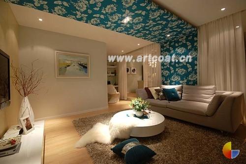 壁纸 中国 诱惑 酒店式公寓/客厅另一面,横跨整个天花板与墙壁的蓝底白花的装饰 壁纸是亮点...